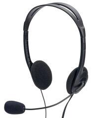 ednet Micro-casque stéréo PC, avec microphone, noir