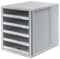 HAN Module de classement, 5 tiroirs ouverts, gris clair