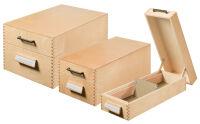 HAN Boîte à fiches en bois A6 paysage,  500 à 900 fiches