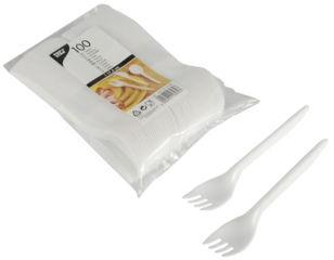 STARPAK Fourchette en plastique, longueur: 175 mm, blanc
