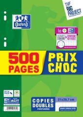 Copies doubles, grands carreaux, 500 pages PRIX CHOC - Oxford