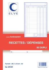 ELVE Manifold 'Recettes / Dépenses', A4, dupli, 50 feuillets