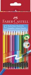 FABER-CASTELL Crayon de couleur gommable, étui carton de 12