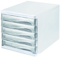 Bloc de classement, 5 tiroirs, blanc/rouge transparent - Helit
