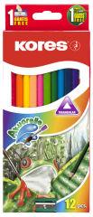 Kores crayons couleur 'Akuarelle', triangulaires, étui de