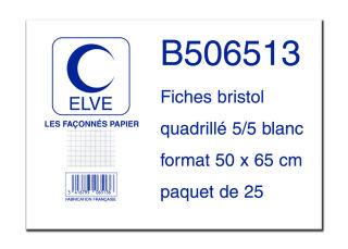 ELVE Fiches bristol quadrillées 5/5, 500 x 650 mm, 25 fiches