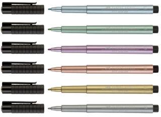FABER-CASTELL Feutre PITT artist pen, bleu métallique