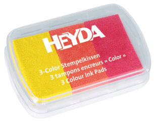 HEYDA Coffret de 3 tampons encreur jaune/orange/rouge,