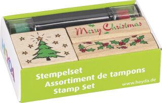 HEYDA kit de tampons à motif 'Noël', en bois, 3 pièces