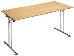 SODEMATUB Table pliante Chromeline1, demi-rond, hêtre,