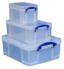 Lot de 3 boîtes de rangement 3 L, 9 L,18 L - Really Useful Box