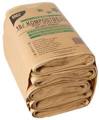 PAPSTAR Sacs compostables, 10 litres, marron