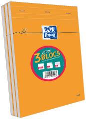 Lot de 2 Blocs-notes A4 (+1 offert) - 80 feuilles - Petits carreaux - Oxford