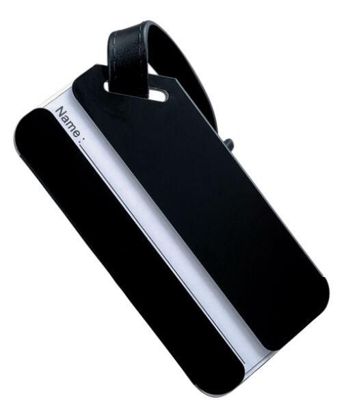 Jsa porte tiquettes de bagages en aluminium noir for 1 porte etiquette de voyage