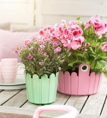 Bac à fleurs en forme de baril LANDHAUS - Jaune