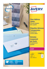 AVERY Etiquette d'adresse, 99,1 x 38,1 mm, transparent