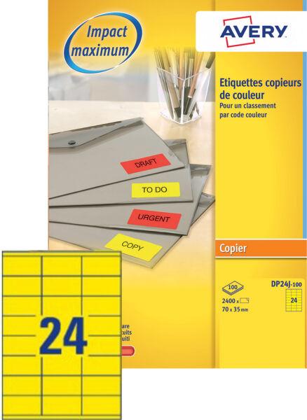Avery tiquettes pour photocopieur 70 x 35 mm jaune fluo for Papeterie buro plus