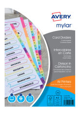 AVERY Intercalaires Mylar, carte, 20 touches alphabétiques,