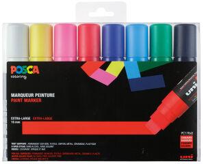 Étui de 8 marqueurs à pigment, couleurs standards POSCA (PC-17K)