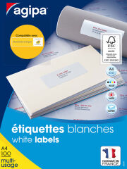 agipa Etiquettes multi-usage, 63,5 x 46,6 mm, blanc