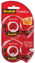 Scotch Dévidoir à main Crystal, transparent, pack économique