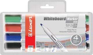 Luxor Marqueur whiteboard 650, pointe ogive, étui de 4