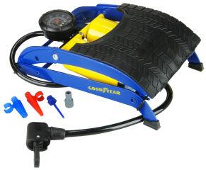GOODYEAR Pompe à pied deux cylindres, bleu / jaune
