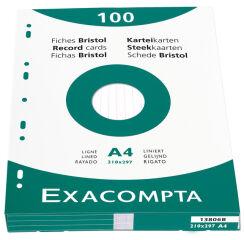 EXACOMPTA Fiches bristol, A4, uni, blanc