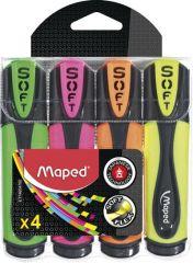 Maped Surligneur FLUO'PEPS Ultra Soft, étui de 4