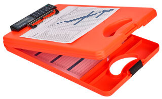 SAUNDERS Porte-bloc à pince 'DeskMate II Safety',orange fluo
