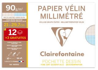 Clairefontaine Papier vélin millimétré, A4, pack promo