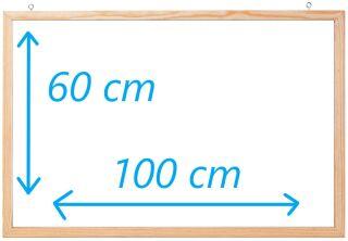 Tableau blanc laqué avec cadre en bois 100 cm x 60 cm - FRANKEN