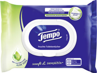 Tempo Lingettes humides de toilette doux & pure, Aloe Vera