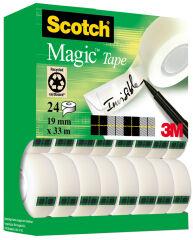 Scotch Ruban adhésif Magic 810, 19 mm x 33 m, 24 rouleaux