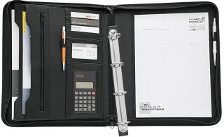 WEDO Porte-documents, A4, avec calculatrice, couleur: noir