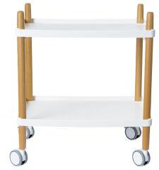 PAPERFLOW Chariot de bureau, 2 étagères, blanc / hêtre