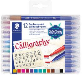 STAEDTLER Feutre double pointe de calligraphie, étui de 24