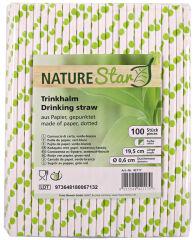 NATURE Star Paille en papier, 197 mm, à pois vert / blanc