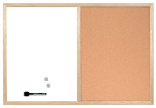 Bi-Office Tableau mixte, cadre en bois, (L)900 x (H)600 mm