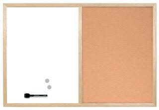 Bi-Office Tableau mixte, cadre en bois, (L)600 x (H)400 mm