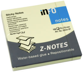 inFO notes Note repositionnable Z-Notes, 75 x 75 mm, jaune