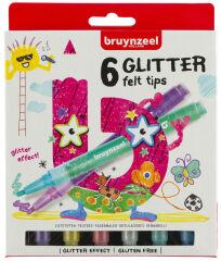 bruynzeel Feutre à paillettes GLITTER, étui en carton de 6