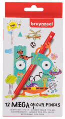 bruynzeel Crayon de couleur Jumbo MEGA, étui en carton de 12