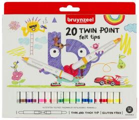 bruynzeel Feutre double pointe Kids TWIN POINT, étui de 20