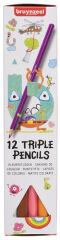 bruynzeel Crayon de couleur TRIPLE COLOUR, étui carton de 12
