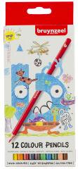 bruynzeel Crayon de couleur Kids, hexagonal, étui carton 12