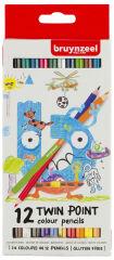 Bruynzeel Kids Crayon de couleur TWIN POINT, étui carton 12