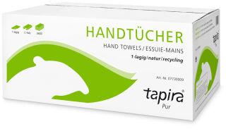 Tapira Essuie-mains Pur, 250 x 230 mm, plié en V, naturel