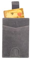 PRIDE&SOUL Porte-cartes RFID, en cuir, gris