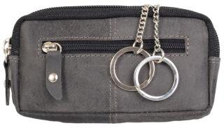 PRIDE&SOUL Etui porte-clés RFID, en cuir, gris